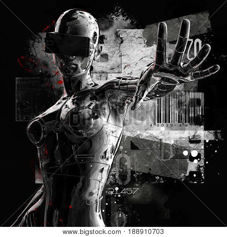 3D illustration. The stylish chrome plated cyborg woman on a grunge background. Futuristic fashion android.