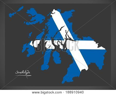 Strathclyde Map With Scottish National Flag Illustration
