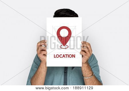 GPS navigation icon graphic with people studio shoot