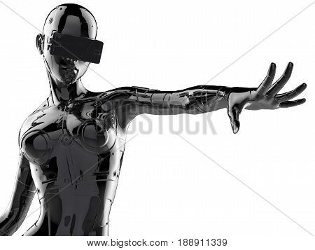 3D illustration. The stylish chrome plated cyborg woman. Futuristic fashion android.