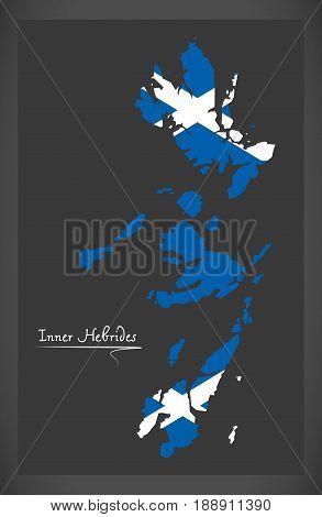 Inner Hebrides Map With Scottish National Flag Illustration