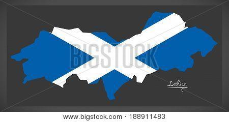 Lothian Map With Scottish National Flag Illustration