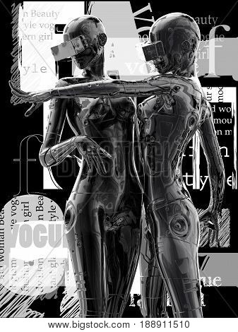 3D illustration.Two stylish chrome plated cyborg woman. Futuristic fashion android.