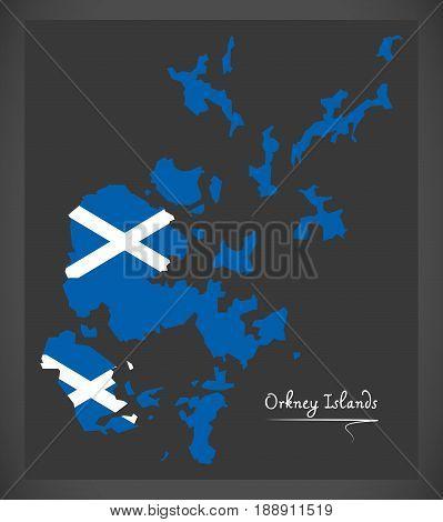 Orkney Islands Map With Scottish National Flag Illustration