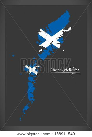 Outer Hebrides Map With Scottish National Flag Illustration