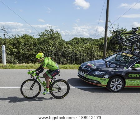 QuinevilleFrance- July 2 2016: The Dutch cyclist Tom-Jelte Slagter of Cannondale-Drapac Team riding during the first stage of Tour de France in Quineville France on July 2 2016.