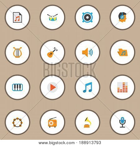 Audio Flat Icons Set. Collection Of Controlling, Sonata, Band Elements. Also Includes Symbols Such As Controlling, Tone, Instrument.