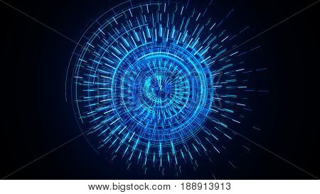 Futuristic Cyber Technology Abstract Background With Dotted Circle Hud Head Up Display Panel Illustr