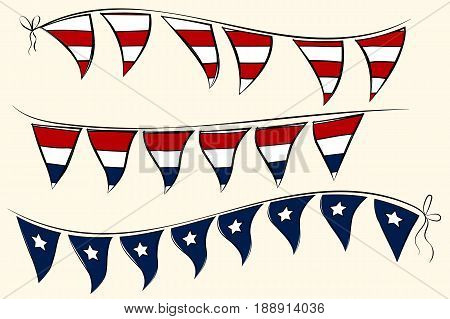 Patriotic 4th July pennant banner. Independence Day vector elements for greeting cards