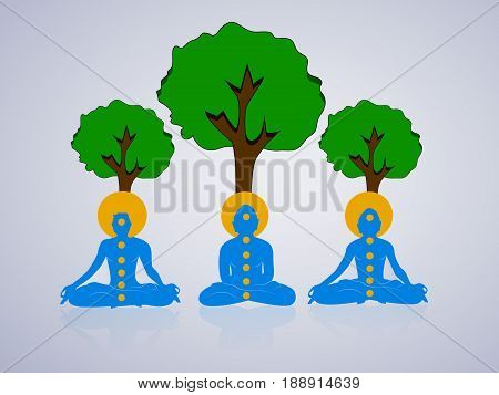 illustration of yoga posture under green tree on occasion of international day of Yoga