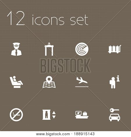 Set Of 12 Aircraft Icons Set.Collection Of Automobile, Location, Letdown And Other Elements.