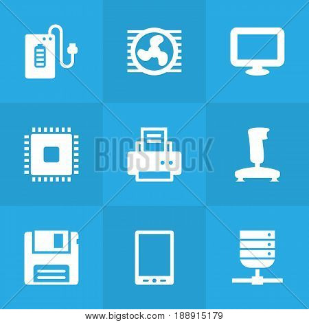 Set Of 9 Laptop Icons Set.Collection Of Diskette, Datacenter, Fan And Other Elements.