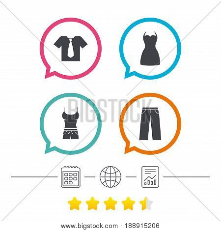 Clothes icons. T-shirt with business tie and pants signs. Women dress symbol. Calendar, internet globe and report linear icons. Star vote ranking. Vector