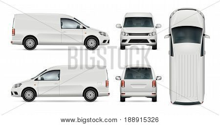 Car vector template for car branding and advertising. Isolated mini van set on white background. All layers and groups well organized for easy editing and recolor. View from side front back top.