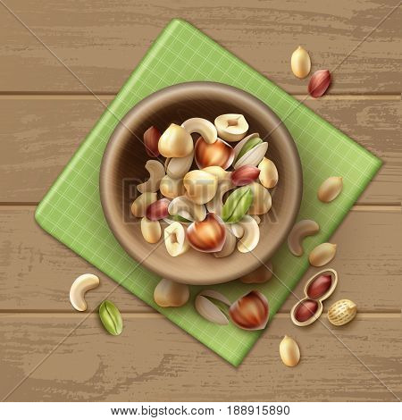 Vector mix of different nuts in wooden bowl whole and half hazelnut pistachio peanuts cashew on table with green checkered napkin