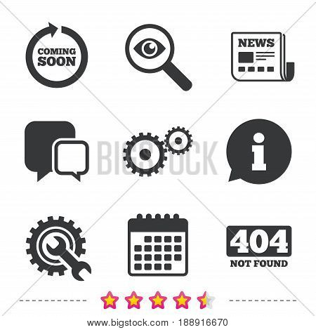 Coming soon rotate arrow icon. Repair service tool and gear symbols. Wrench sign. 404 Not found. Newspaper, information and calendar icons. Investigate magnifier, chat symbol. Vector
