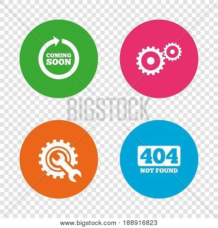 Coming soon rotate arrow icon. Repair service tool and gear symbols. Wrench sign. 404 Not found. Round buttons on transparent background. Vector