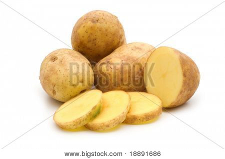 slice potato on white background