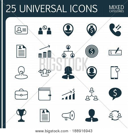 Hr Icons Set. Collection Of Money Navigation, Business Woman, Bank Payment And Other Elements. Also Includes Symbols Such As Structure, Cup, Phone.