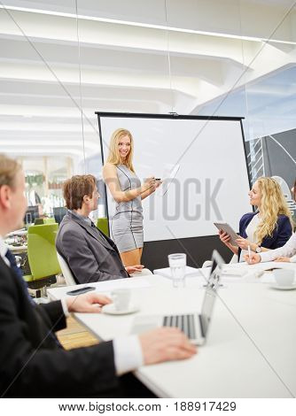 Woman in a presentation with a flipchart during a business meeting in a conference room