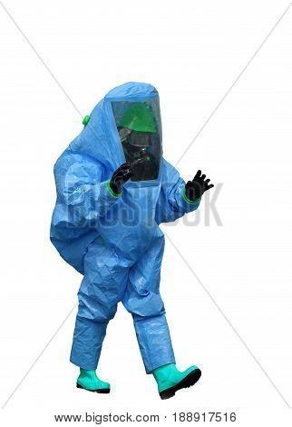 Man With A Blue Protective Suit Against Radiation And Chemical A