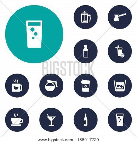 Set Of 12 Drinks Icons Set.Collection Of Wine, Drink, Soda And Other Elements.