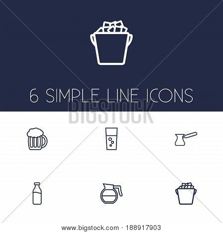 Set Of 6  Outline Icons Set.Collection Of Hotdrink, Fizzy Water, Glass And Other Elements.