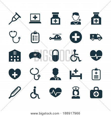 Drug Icons Set. Collection Of Drug, Surgical Bag, Review And Other Elements. Also Includes Symbols Such As Check, Helicopter, Hat.