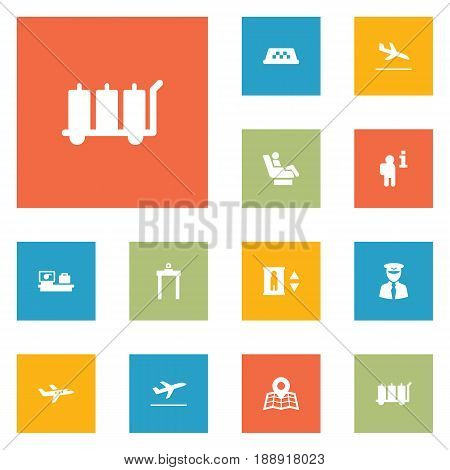 Set Of 12 Airplane Icons Set.Collection Of Aviator, Vip, Luggage Check And Other Elements.