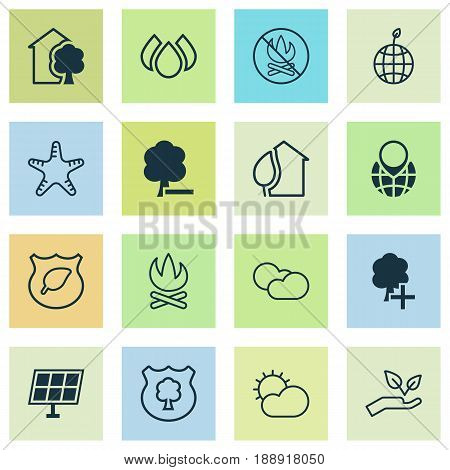 Eco-Friendly Icons Set. Collection Of Guard Tree, Delete Woods, Save World And Other Elements. Also Includes Symbols Such As Shield, World, Cumulus.