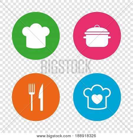 Chief hat and cooking pan icons. Fork and knife signs. Boil or stew food symbols. Round buttons on transparent background. Vector
