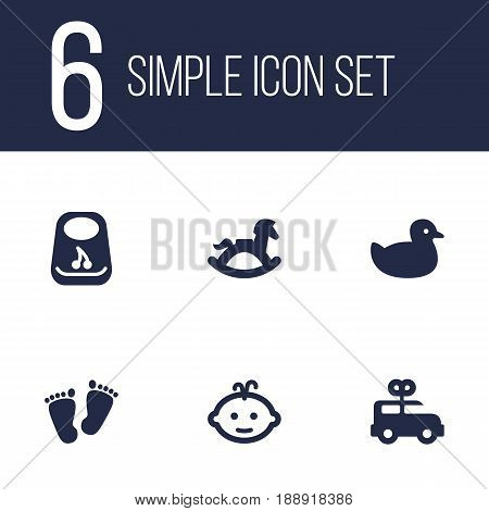 Set Of 6 Child Icons Set.Collection Of Bus, Trace, Equine And Other Elements.