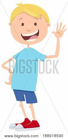 Cartoon Illustration of Boy Character Elementary or Teen Age