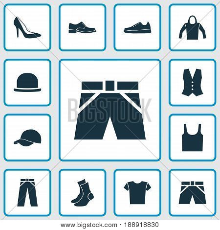 Dress Icons Set. Collection Of Casual, Trilby, Half-Hose And Other Elements. Also Includes Symbols Such As Tank, Pants, Sweatshirt.