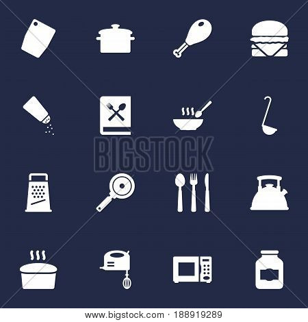Set Of 16 Culinary Icons Set.Collection Of Non-Stick, Sandwich, Jar Elements.