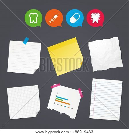 Business paper banners with notes. Tooth enamel protection icons. Medical syringe and pill signs. Medicine injection symbol. Sticky colorful tape. Speech bubbles with icons. Vector
