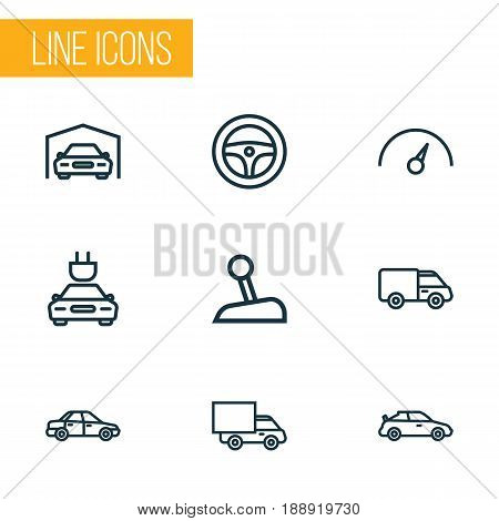 Auto Outline Icons Set. Collection Of Sedan, Crossover, Lorry And Other Elements. Also Includes Symbols Such As Counter, Lorry, Drive.