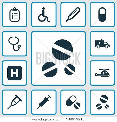 Medicine Icons Set. Collection Of Pills, Stand, Hospital Elements. Also Includes Symbols Such As Stings, Medical, Hospital.