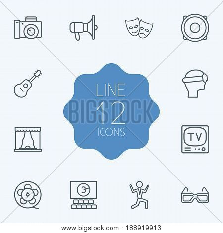 Set Of 12 Pleasure Outline Icons Set.Collection Of Cinema, Guitar, Tv Set And Other Elements.