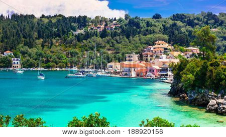 beautiful Greek Ionian islands - Paxos, view of Lakka village and turquoise bay