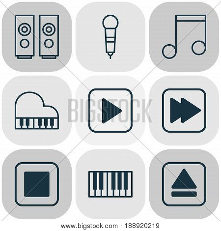 Audio Icons Set. Collection Of Extract Device, Piano, Start Song And Other Elements. Also Includes Symbols Such As Eject, Speakers, Melody.