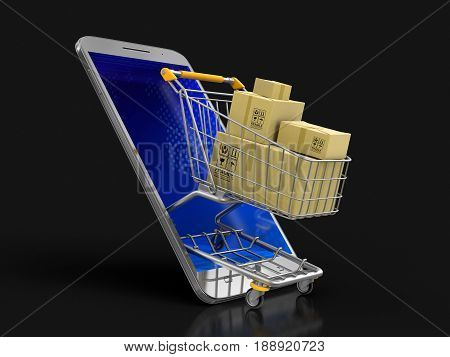 3D Illustration. Touchscreen smartphone, Shopping Basket and packages. Image with clipping path