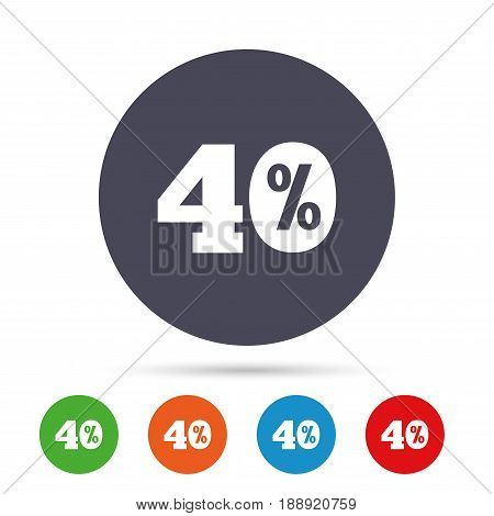 40 percent discount sign icon. Sale symbol. Special offer label. Round colourful buttons with flat icons. Vector