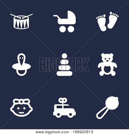 Set Of 9 Baby Icons Set.Collection Of Girl, Teat, Barrel And Other Elements.
