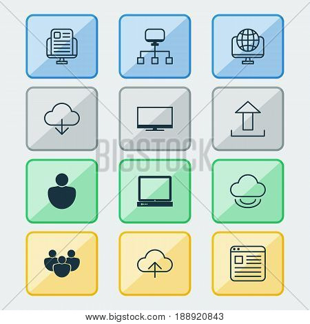 Online Connection Icons Set. Collection Of Data Synchronize, Team, PC And Other Elements. Also Includes Symbols Such As News, Screen, People.