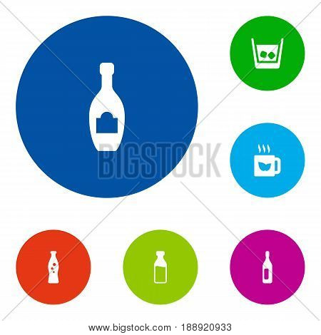 Set Of 6 Drinks Icons Set.Collection Of Hot, Bottle, Fizzy Water And Other Elements.