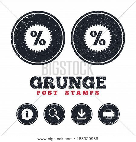 Grunge post stamps. Discount percent sign icon. Star symbol. Information, download and printer signs. Aged texture web buttons. Vector