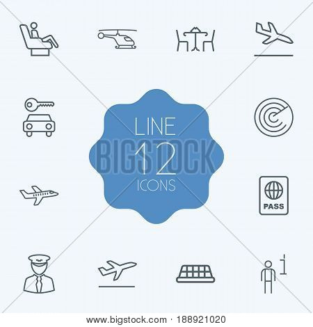 Set Of 12 Airplane Outline Icons Set.Collection Of Cafe, Detection, Pilot And Other Elements.