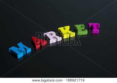 The Word Market On The Black Background.