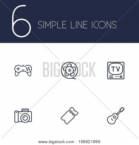 Set Of 6 Entertainment Outline Icons Set.Collection Of Film Role, Guitar, Game Controller And Other Elements.